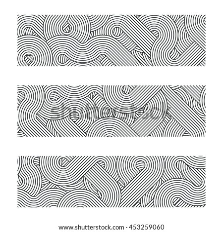 Tree geometric borders elements made of lines. Vector monochrome borders for your design. Borders made of diagonal rotated twisted lines forms. Black and white square border set.