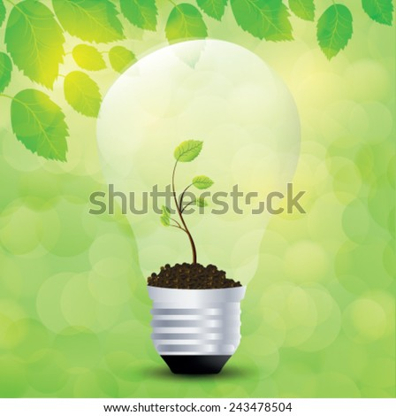 Tree grow in a light bulb. Vector illustrations. - stock vector