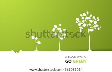 Tree growth eco concept design, vector  - stock vector