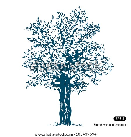 Tree. Hand drawn sketch illustration isolated on white background - stock vector