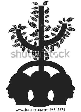 tree head - stock vector