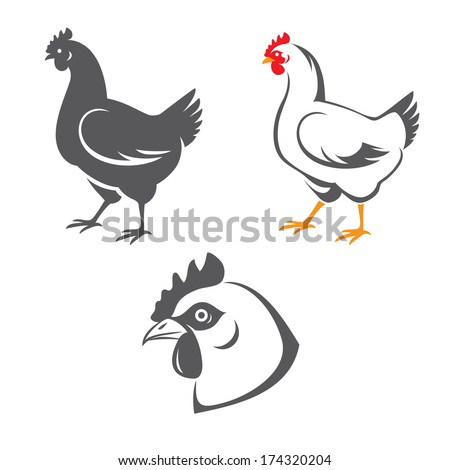 Tree hen (chicken) icons: head and two silhouettes - stock vector
