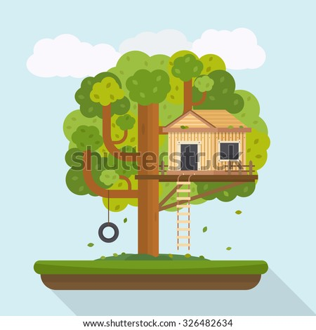 Tree house. House on tree for kids. Children playground with swing and ladder. Flat style vector illustration. - stock vector