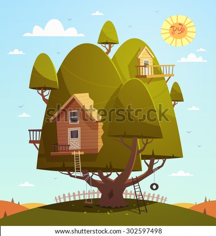 Tree house. Kids background. Vector illustration. - stock vector