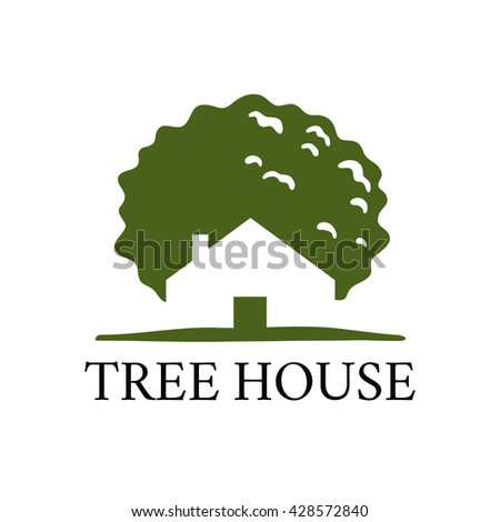 Tree house vector icon. Green house concept.