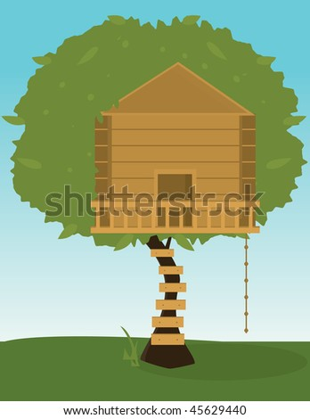 Tree house - vector version