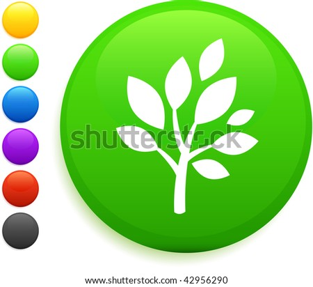 tree icon on round internet button original vector illustration 6 color versions included - stock vector