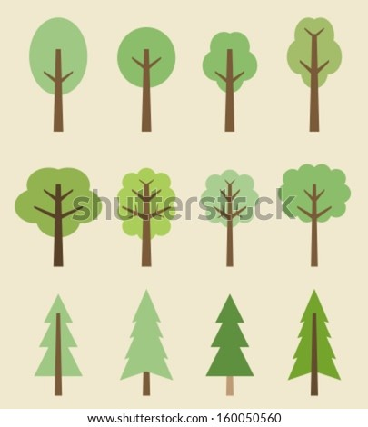 Tree icon set - cute trees cartoon illustration. Nature collection. - stock vector