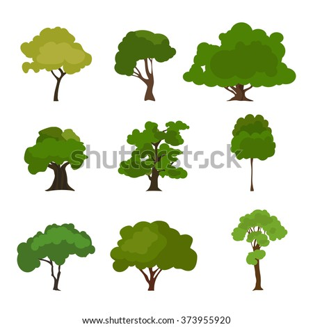 Tree icon set. Rree silhouette forest, leaf tree vector, tree isolated, tree branch. Illustration EPS 10 - stock vector