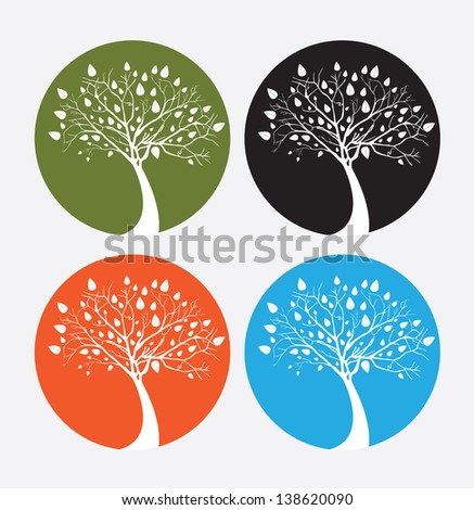 Tree icons over white background vector illustration - stock vector