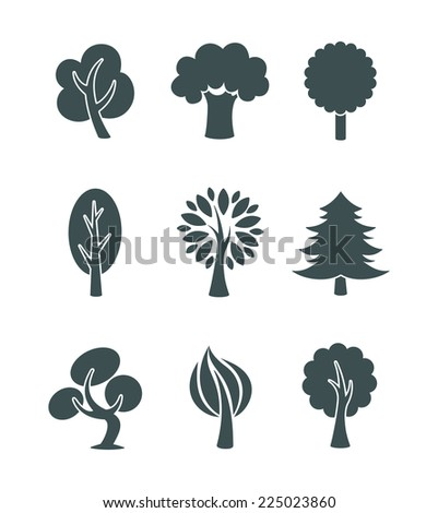 Tree icons set - stock vector