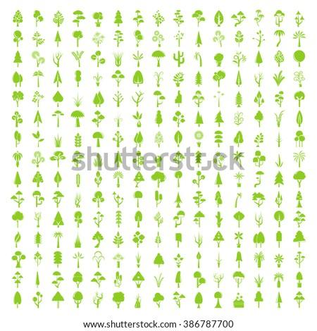 tree icons set, big collection of tree symbols, tree vector - stock vector