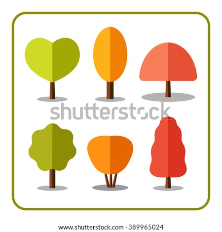 Tree icons set. Nature collection. Trendy and beautiful set of flat autumn elements, isolated on white background. Include deciduous trees and shrubs. Sprites for the game. Stock vector illustration. - stock vector
