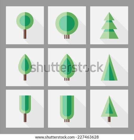 Tree icons. Vector.  - stock vector