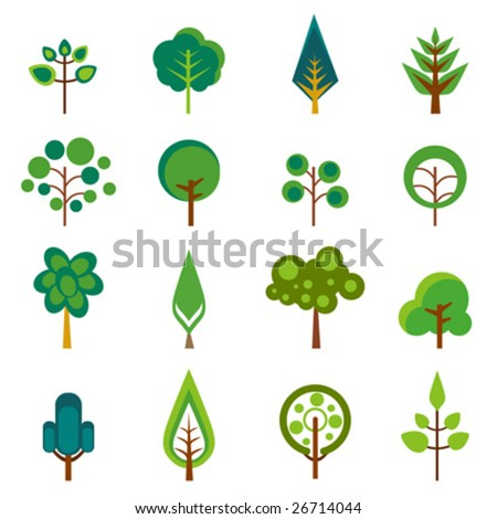 tree icons vector - stock vector