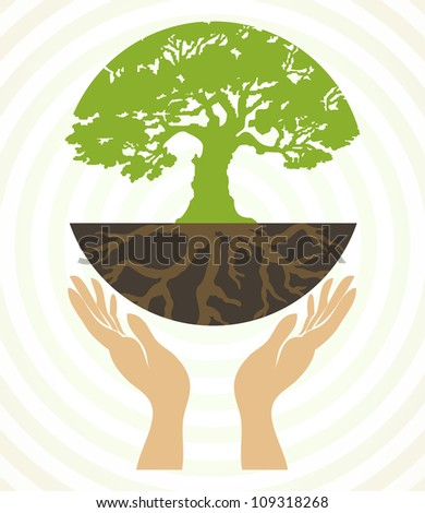 Tree icons with hands. Vector - stock vector