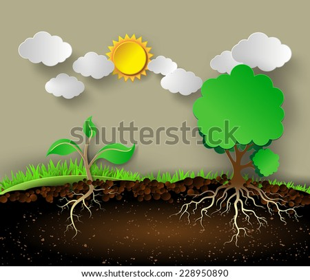 Tree illustration with green leaves and roots.paper cut style. - stock vector