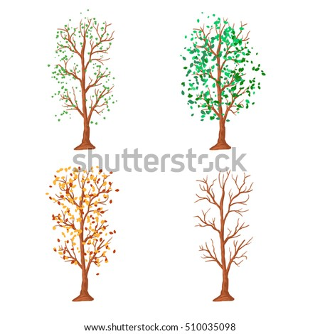 tree in different seasons, vector illustration