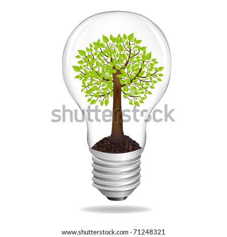 Tree In Light Bulb, Eco Concept, Isolated On White Background, Vector Illustration - stock vector