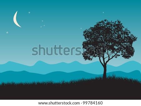 Tree in night scene - stock vector