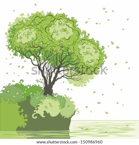 Tree in summer. - stock vector