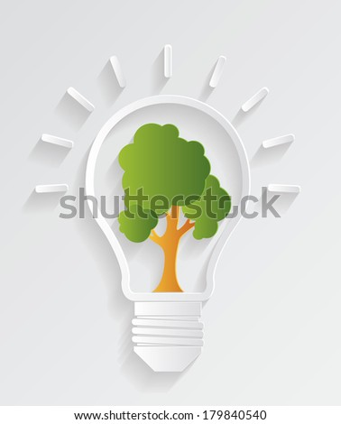 Tree in the light bulb - stock vector