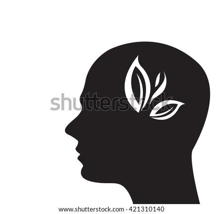 Tree in the shape of head on dark background - stock vector