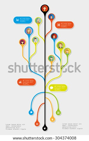 Tree Infographic element. With avatars. Vector illustration