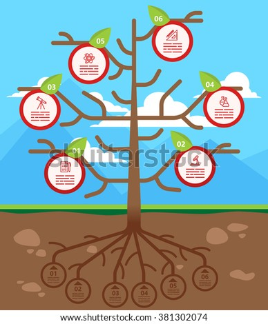 Tree infographics template for ecology, recycling, nature themed charts, diagrams and business presentations - stock vector