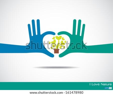 Tree inside heart made up of human hands Hands  - stock vector