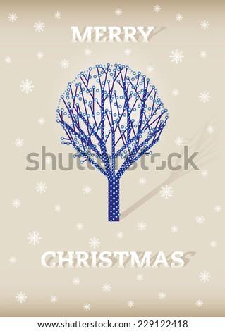 tree involved win lights as christmas decoration - stock vector