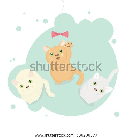 Tree kittens play with a bow. Vector illustration.