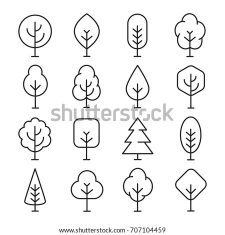 Tree Line Icon Naturally Beautiful Symbol Stockvector Rechtenvrij