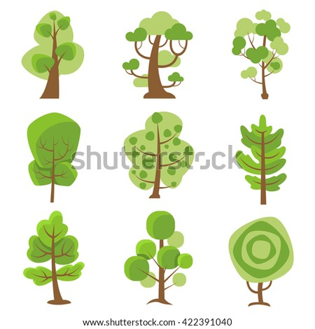 Tree logo flat cartoon decorative icons set on white background with deciduous and coniferous types trees isolated vector illustration - stock vector
