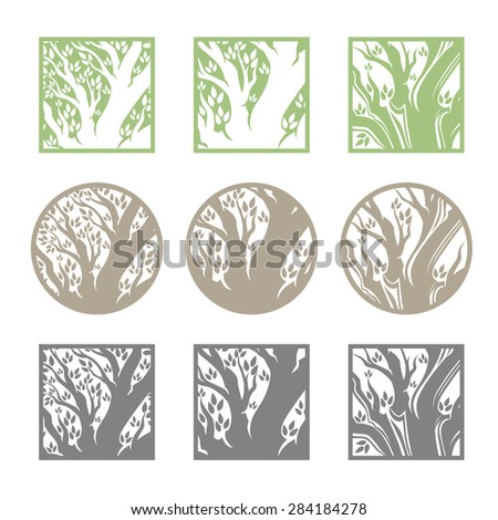 Tree logo template.  Beautiful tree card or background.  Vector illustration. - stock vector