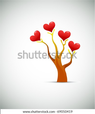 Tree love concept. Valentine day or wedding vector design