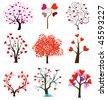 Tree love vector, wedding icons - stock vector
