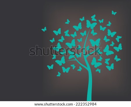 Tree made of butterflies, turquoise and black background - stock vector