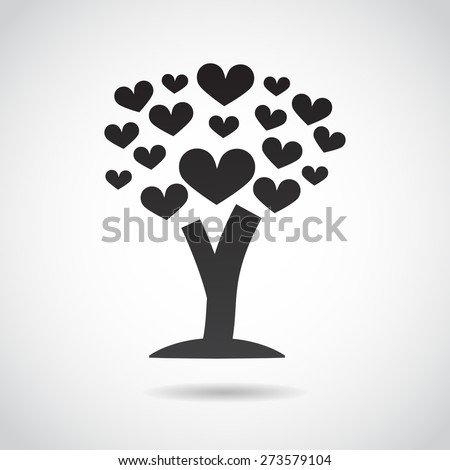 Tree made of hearts. Vector art.