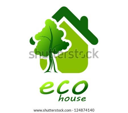 Tree near the house - stock vector