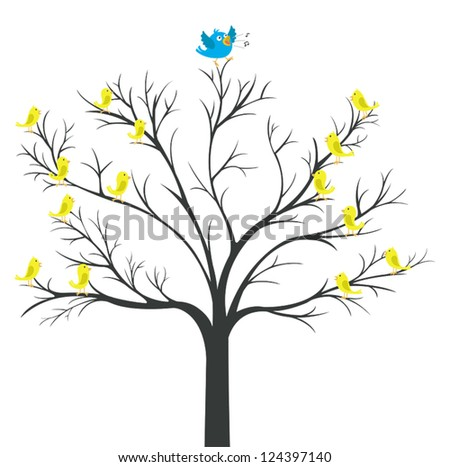 Tree of Blue-bird king with yellow bird watching (network tree) - stock vector