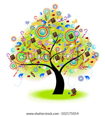 Tree of Candy (vector). Tree of joy with candies cane, sweets, chocolate and confectionery dessert for children hanging on in isolated background, create by vector