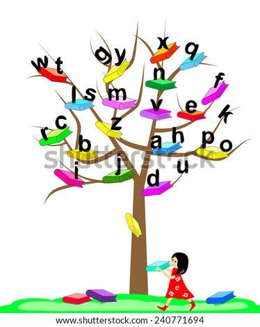 Tree of Knowledge.Vector illustration of a tree with the books - stock vector