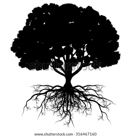 Tree of life vector background abstract shape stylized tree with roots made by imagination - stock vector