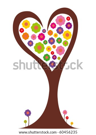 Tree of love with flowers