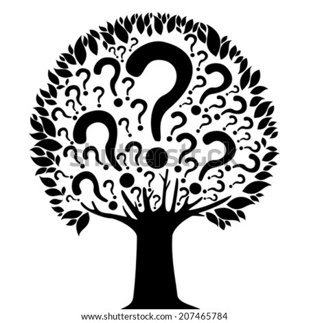 Tree of questions isolated on White background. Vector illustration  - stock vector