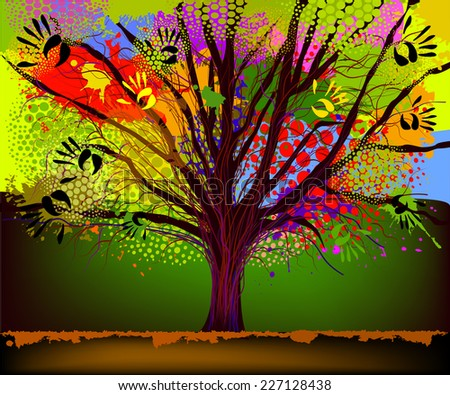 tree of the ink spots with palms. Vector  - stock vector