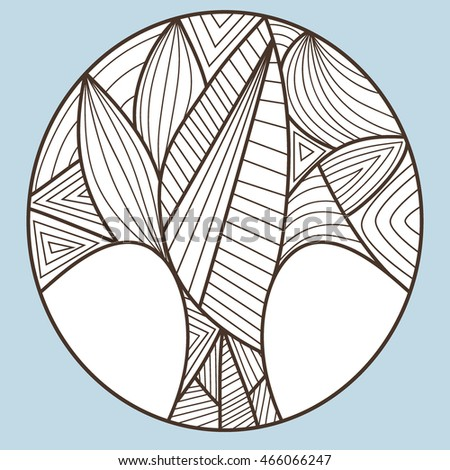 tree of the lines in circle. on blue background. outline vector illustration