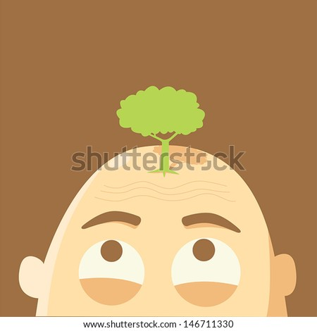 Tree on bald head,global warming concept - stock vector