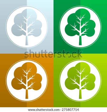 tree on different seasons - winter, spring, summer and autumn, vector icons or logo set - stock vector